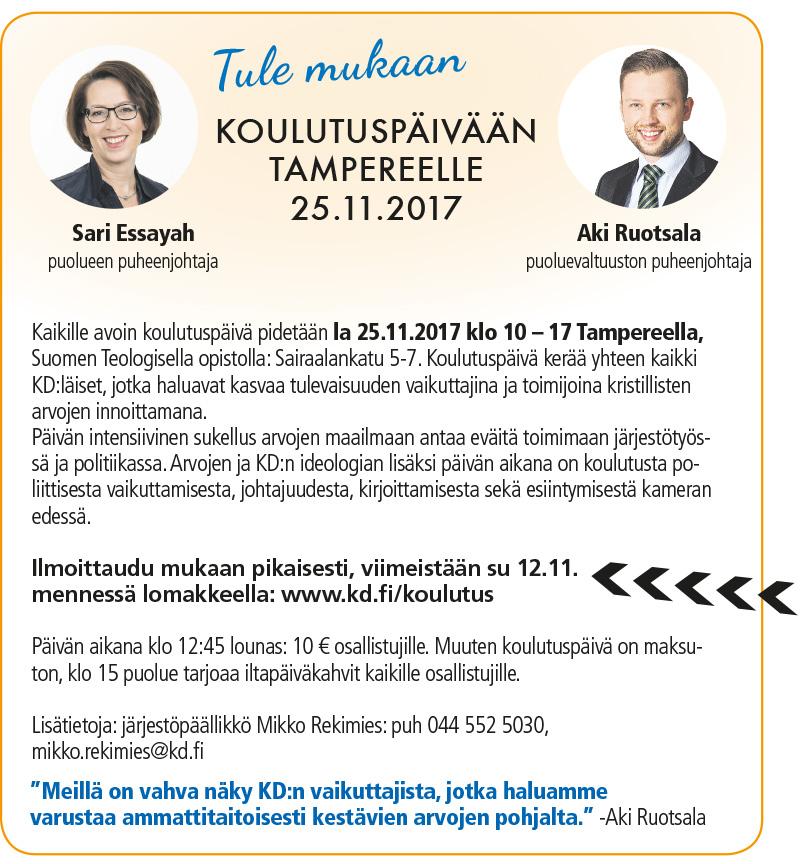 Puolueen koulutuspäivä kaikille halukkaille 25.11.Tampereella
