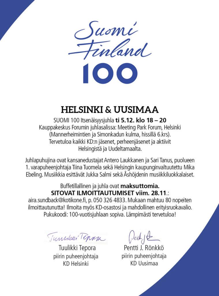 Tervetuloa SUOMI 100 Itsenäisyyspäivän juhlaan 5.12.