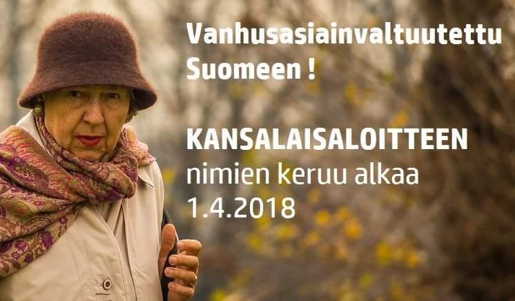 Allekirjoita kansalaisaloite: Vanhusasiainvaltuutettu Suomeen