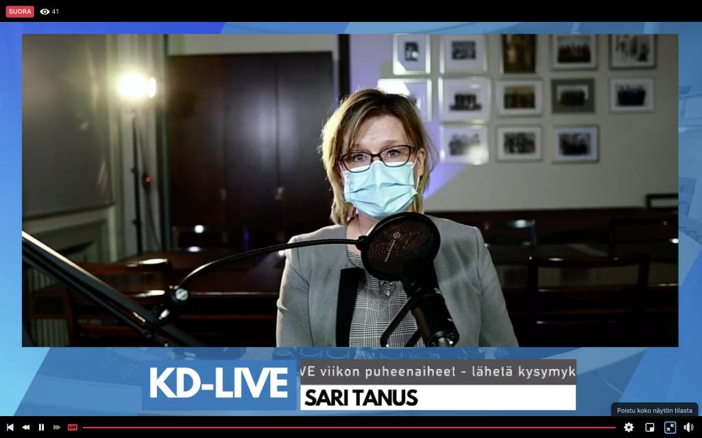 Sari Tanus KD-Live-kyselytunnilla 4.2.2021; näyttökuva FB